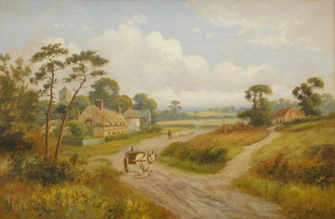 Walton Norfolk (Early 20thC English School). Figure, horse and cart before figure driving sheep on a path before cottages and spire, oil on canvas, 58cm x 76cm and another, ducks on marshland before trees with clouds gathering, 51cm x 74cm (2)
