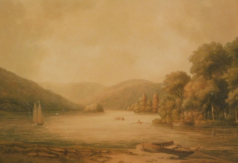William Green (attributed). Windermere looking towards the head of the lake, watercolour, title attributed and dated 1812 to the mount, 34cm x 50cm.