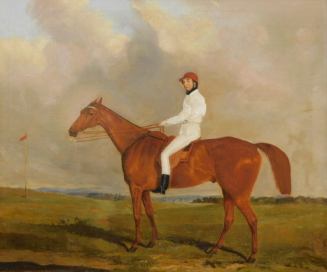 Joseph Dunn (1806-1860). Racehorse with jockey wearing white silks and red cap, signed and dated (18)43, 68cm x 75cm.