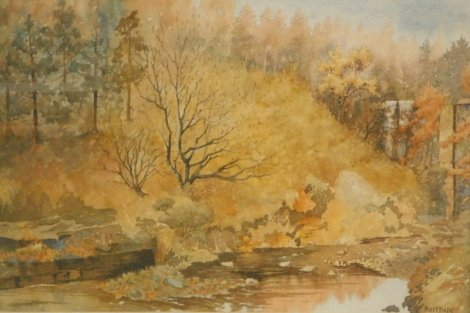 J.E. Hodgkin. Hadhope Burn Dryderdale, watercolour, signed and titled, 36cm x 52cm.