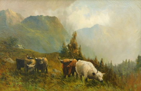 Stanley Graham (19thC School). Highland scene, cattle before cottage and mountains, clouds gathering, oil on canvas, 52cm x 74cm, and highland cattle before mountains on a twilight evening, each signed - pair.