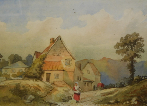 19thC School. Figure before cottage and tree on a summers day, watercolour, unsigned, 24cm x 33.5cm.