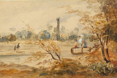 19thC English School. Boat and figures in building, watercolour, indistinctly signed, 13cm x 20cm.