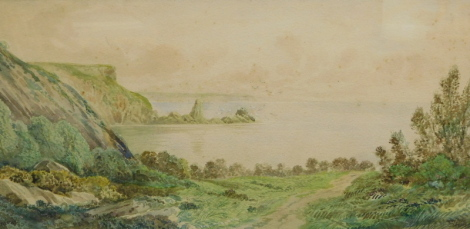 F. Walters (19thC). Anstey Cove, Torquay, watercolour, signed and titled, 24cm x 49cm.