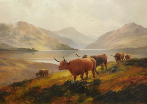 Henry Robertson Hall (1859-1927). Highland scene, cattle before loch and mountains, with clouds gathering, oil on canvas, signed, 63cm x 92cm.