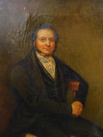 19thC School. Portrait of a seated gentleman, oil on canvas, 35.5cm x 30cm.