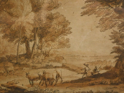 Claude Lorraine. Rural landscape with figures and cattle, brown ink, titled on mount, 16.5cm x 21.5cm.