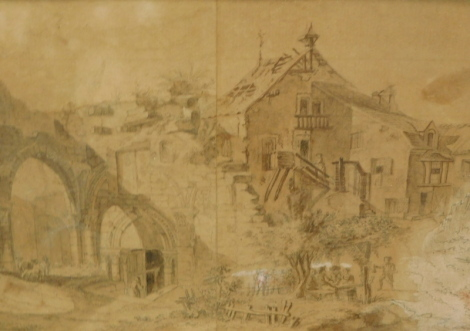 J.B. Le Prince. Village and abbey ruin - with figures, hand coloured etching, titled to the mount, 17cm x 29.5cm.