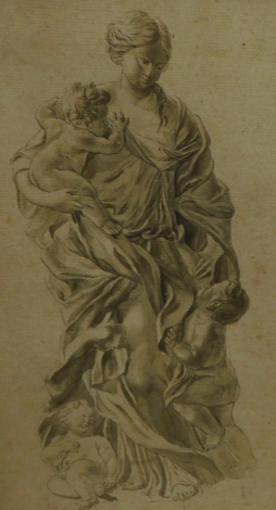 18thC School. Study of woman with putto cherubs, ink drawing, 28.5cm x 17cm.