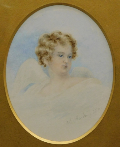 James Duffield Harding (c.1797/98-1863). Angel, watercolour, signed and dated 1820, 12cm x 10cm.