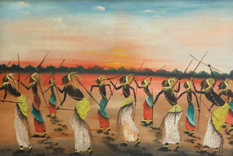 Madimba (African, 20thC). Tribal figures with spears in dance, oil on canvas, 47cm x 68cm.