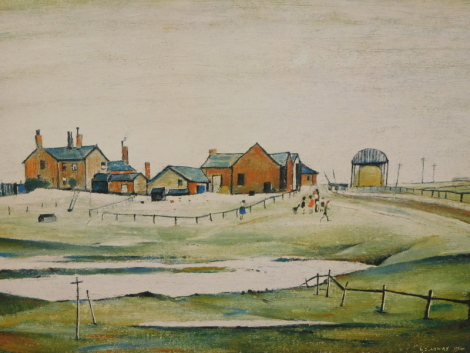 Laurence Stephen Lowry (1887-1976). The Farm, artist signed limited edition print, 1974 Venture prints with KBD blind stamp, 41cm x 48cm.