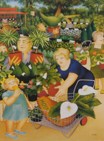 Beryl Cook (1926-2008). Garden centre, Alexander Gallery, artist signed limited edition print no. 61/850, signed and numbered to the mount, 53cm x 40cm.