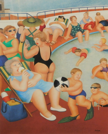 Beryl Cook (1926-2008). Bathers at the pool, Alexander Gallery, artist signed print DDK blind stamp, signed to the mount, 49cm x 38cm.