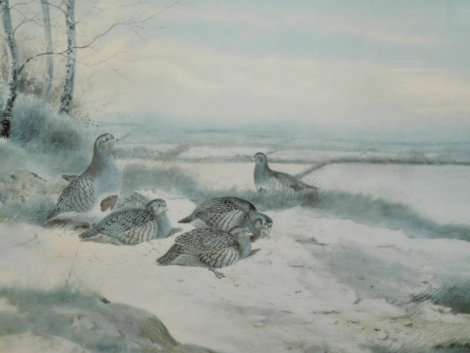 Archibald Thorburn (1860-1935). Pheasants in a winter landscape, Fryern Gallery, limited edition print no. 335/500, 29cm x 39cm and a Philip Rickman artist signed limited edition print (2).