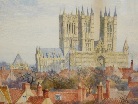 R. F. (19thC English School). Lincoln Cathedral, watercolour, 1893, initialled, 23cm x 27cm.