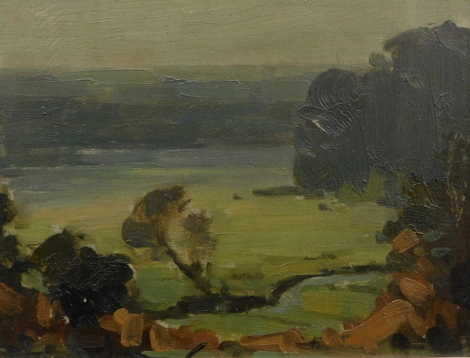 Herbert Rollett (1872-1932). Subdued landscape, oil on board, 17cm x 22cm. Labelled verso.
