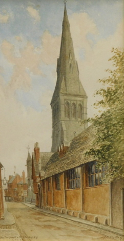 Albert Henry Findley (1880-1975). Old Town Hall, St. Martin's Church, Leicester, watercolour, signed and titled, 31cm x 16cm.