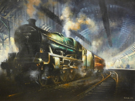 David Weston (1935-2011). Locomotive in station, oil on canvas, signed and dated 1976, 55cm x 63cm with Celebration of Life booklet and Notice of a Celebration.