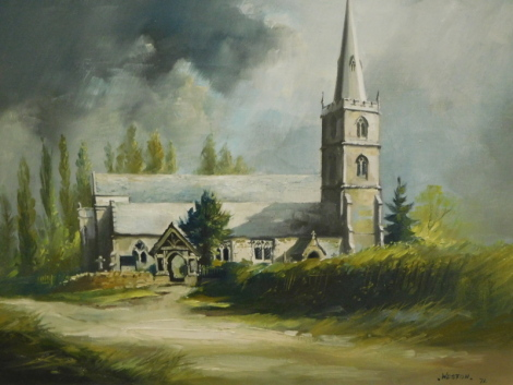 David Weston (1935-2011). Church with clouds gathering, oil on canvas, signed and dated (19)71, 41cm x 50cm.