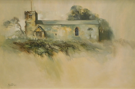 David Weston (1935-2011). Church, oil on canvas, signed and dated (19)69, 50cm x 75cm.