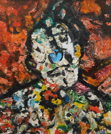 Dorothy Lee Roberts (20thC). Abstract portrait, oil on board, signed and dated (20)03, 19cm x 26cm.