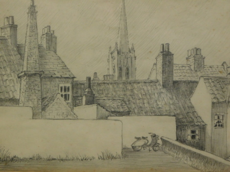 Joan Lewis. Louth from the car park Aswell Street, 1971, pencil, 18cm x 26cm. Usher Gallery label verso.