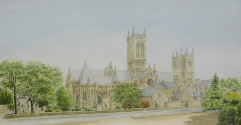 R.G. Barton (20thC). Lincoln Cathedral from the Eastgate Hotel, watercolour, signed, 35cm x 70cm.