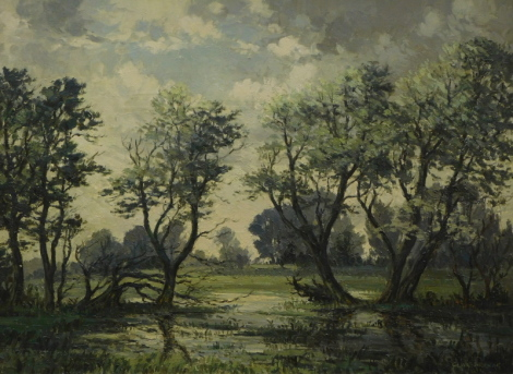 Clive Browne (1901-1991). Watermeadows Humberston, oil on canvas, signed, 55cm x 75cm.