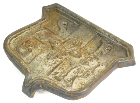 A 19thC cast iron crest or plaque, for the Skegness Pier Company Limited, dated 1881, 33cm wide, 30cm high.
