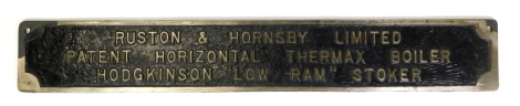 An engineering cast metal plaque for Ruston and Hornsby Limited, patent horizontal Thermax boiler, Hodgkinson 'low ram stoker', 80.5cm x 12cm.