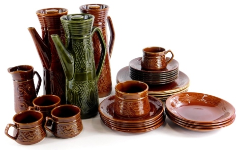 A collection of Saxony Ellgreave pottery, to include two coffee pots, various dinner plates, side plates, jugs, etc., mainly with a brown glaze.