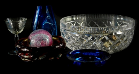 A collection of glass, to include a Waterford bowl, Caithness Aries paperweight, etc.