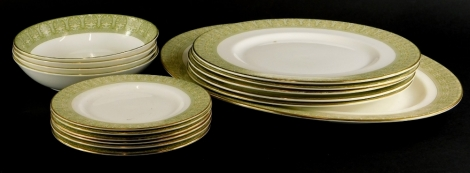 A Royal Doulton Sonnet pattern part dinner service, to include five dinner plates, oval meat dish, etc.