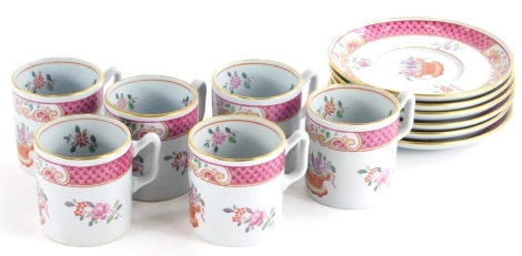 A Copeland Spode New Stone part coffee service, decorated in famille rose enamels in the oriental style with flowers, baskets, etc., comprising six saucers and six coffee cans.