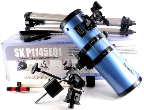 A Sky Watcher Reflector telescope, number SKP1145EQ1, in pale purple with tripod, original box, etc.