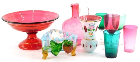 A collection of Victorian and later glass, to include a centrepiece, a claret jug, wine glasses, triangular dish, etc.