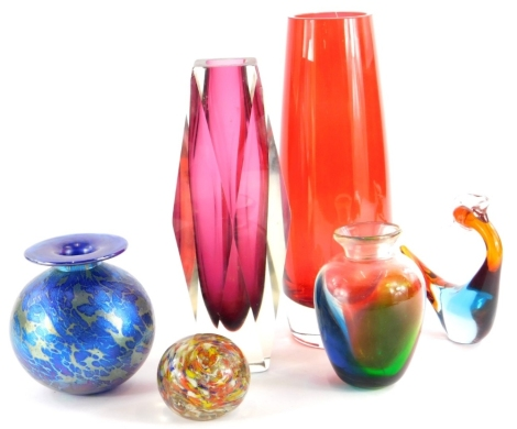 An iridescent art glass vase, with mottled decoration, 12cm high, and other art glass.