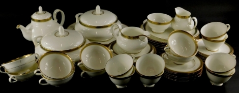 A Royal Doulton Clarendon pattern part dinner and tea service, to include teapot and cover, milk jug, pair of tureens and covers, etc.