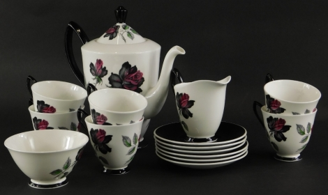 A Royal Albert Masquerade pattern part coffee service, to include coffee pot and cover.