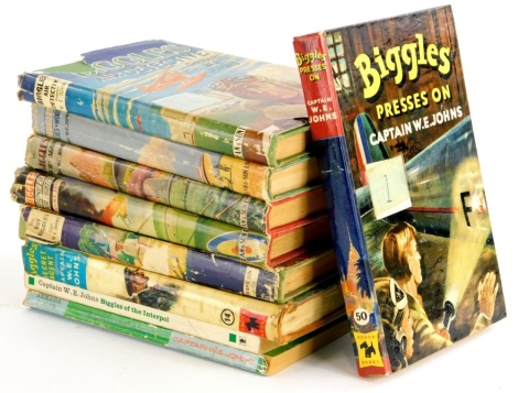 Various volumes of Biggles, to include some first editions, Air Detective, Flies to Work, Flies Again, Pioneer Air Fighter, Boy Biggles, Secret Agent, Biggles Presses On, Biggles of the Interpol and Biggles Goes to War.