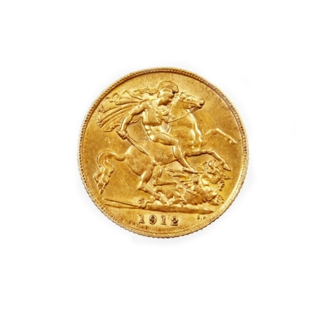 A George V half gold sovereign, dated 1912.