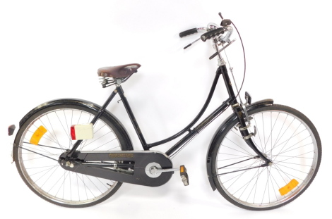 A Pashley Princess Sovereign lady's bicycle, black framed, with Concorde Lepper leather seat, serial numbered frame 92287.