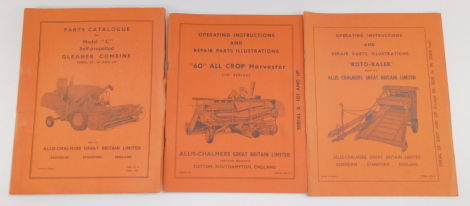An Allis-Chalmers parts catalogue for a Model 'C' Self Propelled Gleaner Combine, Serial EC1 and up, together with operating instructions and repair parts illustrations for a 'Roto-Baler', Serial ER3007 and up, and a '60' All Crop Harvesters 'A' Series, S