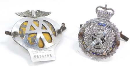 A J R Gaunt London Scottish Regiment white metal and enamel car badge, together with an AA car badge, No 0896168. (2)
