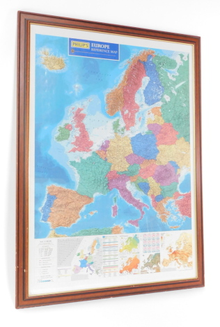 A Philip's Europe reference map, scale 1:5 000 000., showing the regions of the European Union, temperatures, populations, and land reliefs, framed and glazed, published 2000, 105cm high, 75.5cm wide.