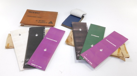 Motor car seat fabric swatch books, comprising Buyriven Textile Ltd Toppings., samples from The Bridge of Weir Leather Company Ltd., Clydesdale Works Scotland., and Romo Fabrics Rodeo Expanded Vinyl swatches. (4)