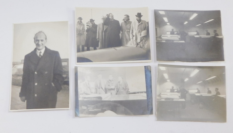 BRM. Three post war photographs of the BRM Design Office, further photograph of Harry Mundy, and a photograph of The Launch Day at Folkingham, with William Lyons and Alfred Owen. (5)