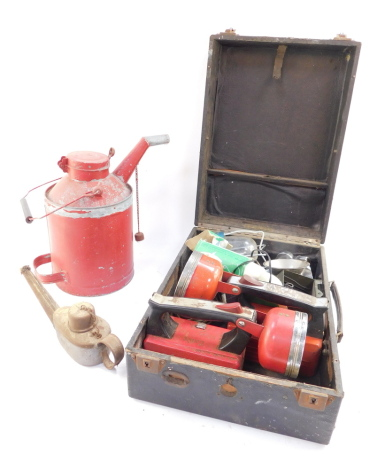 A 5L petrol can, painted red, a British Rail hand held lamp, Everready and Exide space lamps, further lamps, cased. (a quantity)