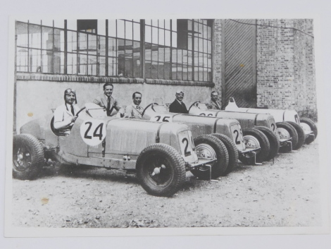 ERA. A black and white photograph showing a line-up of ERA racing cars, outside the Bourne Workshop, with the drivers, including Raymond Mays in Number 24., 17cm high, 12.5cm wide.